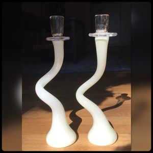 Blown glass candle holders